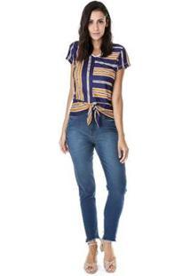 Blusa Crepe Listrada Azul-Marinho - Feminino