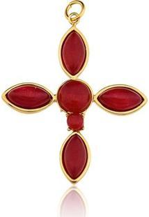 Pingente Toque De Joia Cruz Pedra Jade Vermelha - Feminino-Dourado