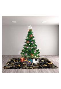Tapete De Natal Para Sala Rena Dourado Único