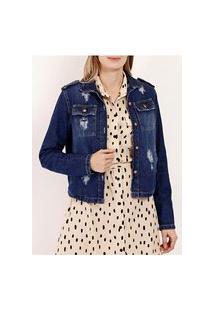 Jaqueta Jeans Com Rasgos Feminina Azul