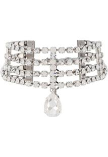 Alessandra Rich Crystal-Embellished Choker Necklace - Prateado