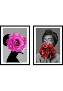 Quadro 67X100Cm Ágda Mulher Com Flores Rosa E Vermelha Nórdico Moldura Preta Sem Vidro
