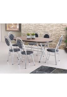Conjunto De Mesa De Jantar Com 6 Cadeiras Escocia Damasco Preto