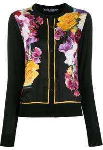 Dolce & Gabbana Cardigan Floral - Preto