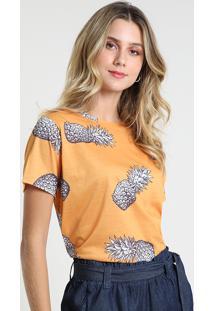 Blusa Feminina Estampada De Abacaxi Manga Curta Decote Redondo Amarela