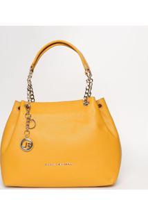 Bolsa Em Couro Com Correntes - Amarelo Escuro- 23X45Jorge Bischoff
