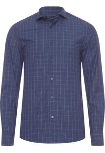Camisa Masculina Xadrez - Azul