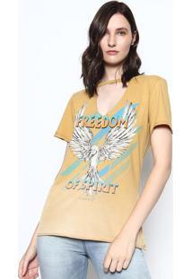 """Camiseta """"Freedom Of Spirit"""" - Bege & Verde - Sommersommer"""