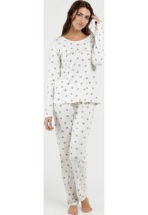 Pijama Feminino Estampa Corações Manga Longa Marisa