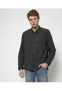 Camisa Com Recortes & Bolso- Cinzalevis
