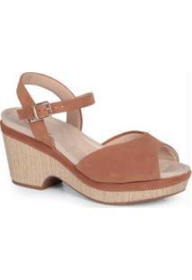 Sandália Salto Conforto Modare Caramelo
