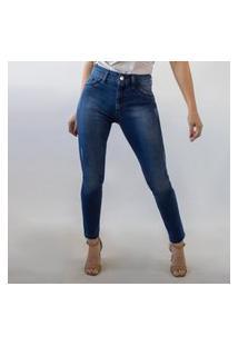 Calça Cropped Jeans Stretch Alta Feminina Puídos Anticorpus