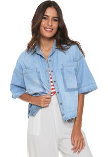 Camisa Jeans Cantão Bolsos Azul