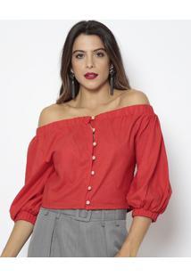 Blusa Ciganinha Com Botões- Vermelha- Aboutabout