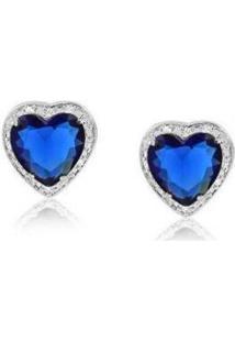 Brinco Coração Safira C/ Zirconia Ródio Lys Lazuli Feminino - Feminino-Prata