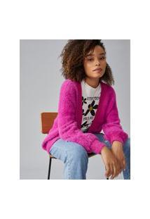 Amaro Feminino Cardigan Soft Peludo, Rosa Pink