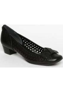 Sapato Tradicional Em Couro Com Laã§O- Preto- Salto: Jorge Bischoff