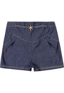Short Jeans Com Recortes - Azul Escuro- Lecimarlecimar
