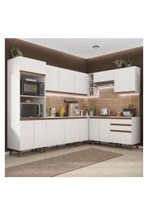 Cozinha Completa De Canto Madesa Reims 462001 Com Armário E Balcão Branco Cor:Branco