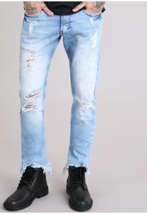 Calça Jeans Slim Destroyed Com Barra Assimétrica Desfiada Azul Claro