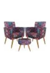 Conjunto 2 Poltronas Decorativas Com Rodapé E Puff Redondo Nina Mosaico