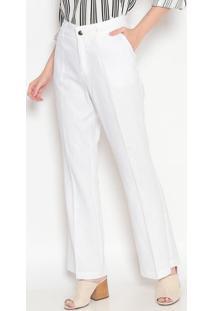 Calça Pantalona Em Linho Com Bolsos- Branca- Heringhering