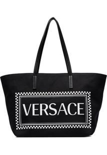 Versace Bolsa Tote Com Logo - Preto
