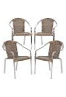 Cadeiras 4Un Para Area Varanda Fibra Sintetica Sala Cozinha Jardim Sacada Pinheiro - Argila