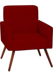 Poltrona Decorativa Mari Pés Palito Vermelha - Condor Decor