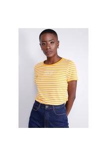 Blusa T-Shirt Listrada Mostarda Gang Feminina
