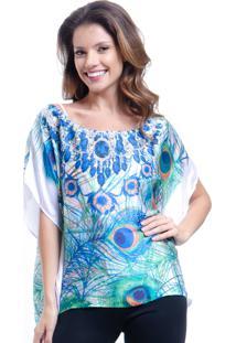 Blusa 101 Resort Wear Poncho Crepe Cetim Estampado Penas Azul