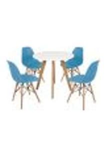 Mesa Laura 80Cm Branca + 4 Cadeiras Eames Eiffel - Turquesa