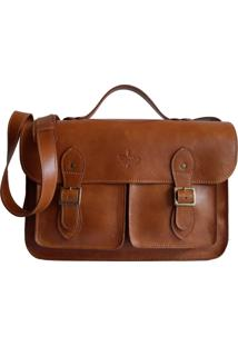 Bolsa Line Store Leather Satchel Pockets Grande Couro Whisky Rãºstico. - Marrom - Dafiti