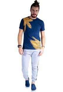 Camiseta Mister Fish Estampado Palmeiras Plus Size Marinho