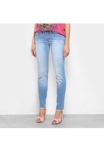 Calça Jeans Skinny Triton Riva Low Cropped Feminina - Feminino-Azul Claro