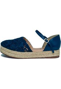 Sandália Espadrille Mobene Em Crochê Azul-Marinho