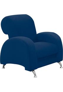 Poltrona D'Rossi Decorativa Hipo Suede Azul Marinho Com Pés Em Alumínio - D'Rossi