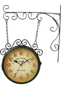 Relógio De Parede Estação New York Preto