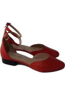Scarpin Sapatos E Botas Salto Baixo Couro Feminino - Feminino-Coral