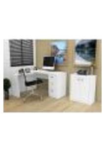 Conjunto P/ Escritório Mesa Em L E Balcão 2 Portas - Branco