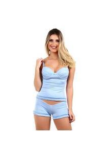 Pijama Short Doll Baby Doll Imi Lingerie Camisete Sexy Em Microfibra Toque Suave Azul Claro