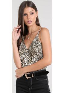 Body Feminino Transpassado Blusê Estampado Animal Print Alça Fina Bege Claro