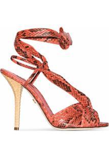 Dolce & Gabbana Sandália De Couro Com Efeito De Pele De Píton E Salto 105 Coral - Rosa