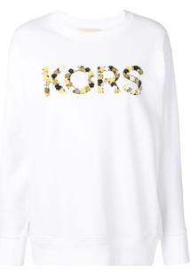 Michael Michael Kors Blusa De Moletom Com Logo - Branco