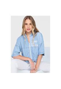 Jaqueta Jeans Morena Rosa Lettering Azul