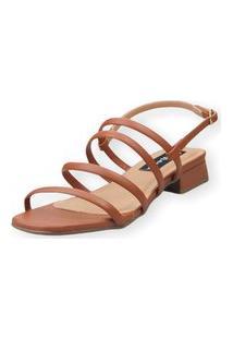 Sandália Saltinho Baixo Love Shoes Tiras Fashion Caramelo