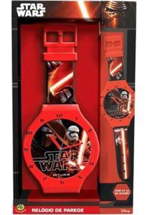 Relógio De Parede Star Wars Dtc - Vermelha