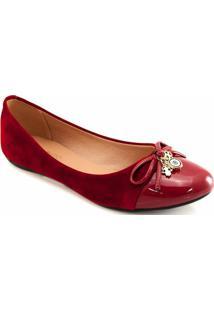 Sapatilha Laço Pingentes Sapato Show Feminina - Feminino-Vermelho