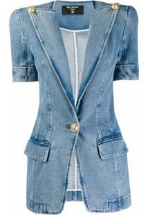 Balmain Jaqueta Jeans Com Efeito Manchado - Azul