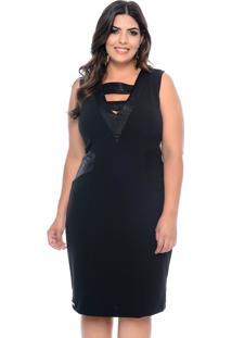 Vestido Elegance All Curves Plus Size Balada Com Detalhe Preto